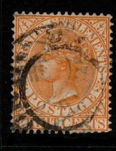 MALAYA STRAITS SETTLEMENTS SG14 1867 8c ORANGE-YELLOW USED