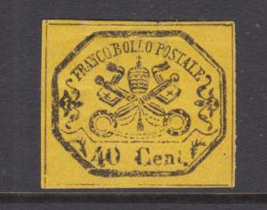 Roman States Sc 17a MOG. 1867 40c black on yellow Papal Arms, no period, thin