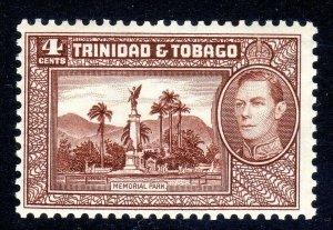 TRINIDAD  AND TOBAGO  --  1938-44  --SG 249       4 cents  choc  MNH UM  cv £30