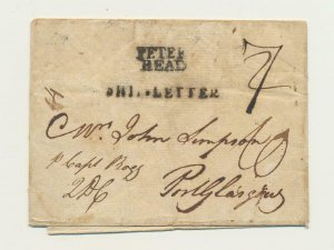 PETERHEAD SCOTLAND EARLY SHIPS LETTER, RARE EARLY COVER, 7 MK+RED H/S