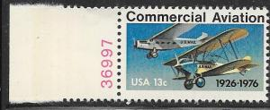 US#1684 13c Commercial Aviation plate# single CV $0.65