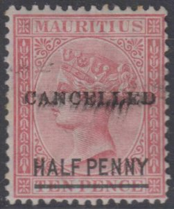 BC MAURITIUS 1876-77 Sc 47 SG# 79 OVPTD CANCELLED, SMUDGY HINGED MINT GBP 35+