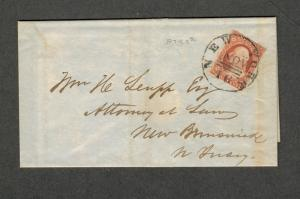 US Sc#10a VF+ Stamp On 1851 Cover Pos # 87R2e, Cv. $190