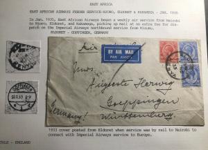 1933 Eldoret Kenya Early Airmail Cover To Goppingen Germany Via Nairobi