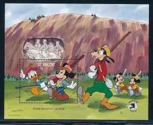 Disney St-Vincent MNH Souvenir Sheet Mickey at Stone Mountain #1265 (1989