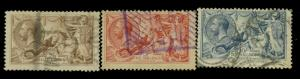 Great Britain #179-181 Used F-VF 181 CReases Cat$360