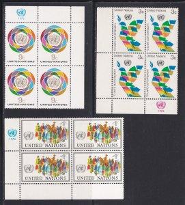 United Nations -New York #  267-271, Inscription Blocks of Four, NH, 1/3 Cat.