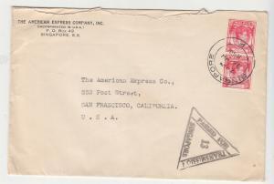 STRAITS SETTLEMENTS, 1940 censored cover to USA, KGVI 6c. Carmine (2),