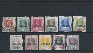 SEYCHELLES 1903 SET OF ELEVEN OVERPRINTED SPECIMEN 2r 25 DENTED FRAME MM