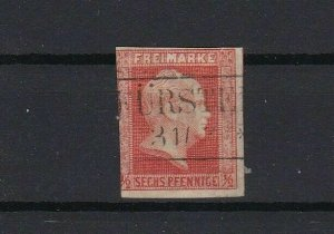 prussia 1860 ½sgr vermilion imperf no wmk used stamp  cat £250+ ref r13423