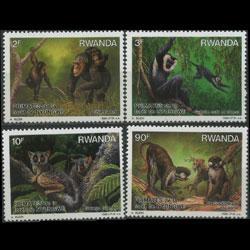 RWANDA 1988 - Scott# 1306-9 Monkeys Set of 4 LH