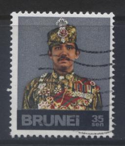 BRUNEI -Scott -202- Sultan Portrait -1974- VFU- Multi -Single 35c Stamp1