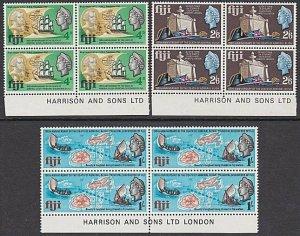 FIJI 1967 Capt Bligh set imprint blocks of 4 MNH............................B131