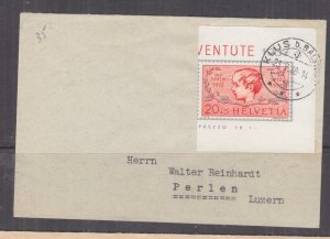 SWITZERLAND,1937 Pro Juventute imperf. pair from Souvenir Sheet, separate covers