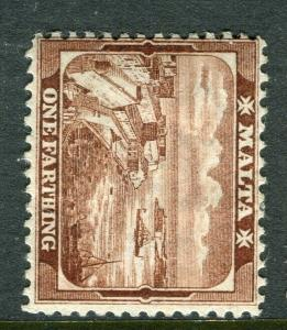 MALTA; 1910 early GV issue fine Mint hinged shade of 1/4d. value