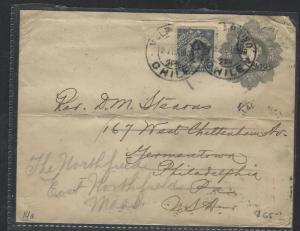 CHILE (P2701B)  1909   5C PSE UPRATED  COLUMBUS 10C VALPARAISO TO USA