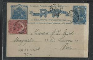 HAITI  (PP1104B)   1902   1C PSC UPRATED 2C  TO FRANCE