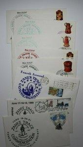 Zane's Trace Philatelic Society Zaineville OH Set 9 Expo Cachet Covers