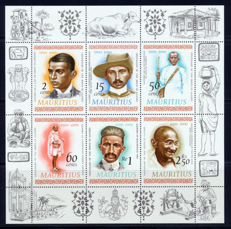MAURITIUS 1969 MOHANDAS K. GANDHI SOUVENIR SHEET OF 6 DIFFERENT SCOTT 362a