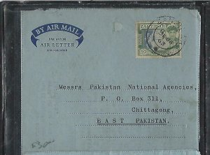 ZANZIBAR  (PP2608B)  1963  SULTAN 50C ON FORMULA AEROGRAM TO PAKISTAN