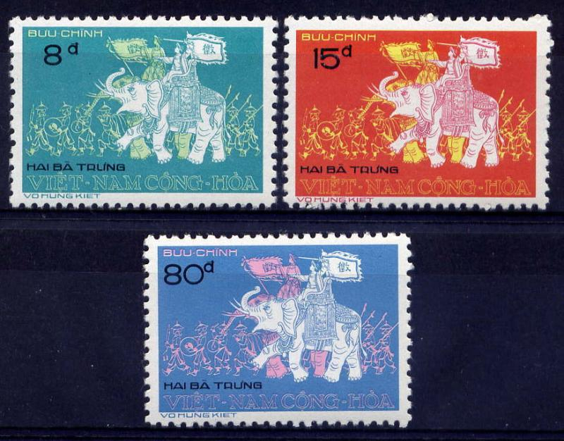 VIETNAM, SOUTH Sc#472-4 1974 Trung Sisters on Elephants Fight Chinese MNH