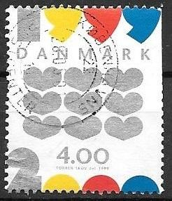 Denmark 1999 New Year, wavy lines, used, Scott #1168 / HipStamp