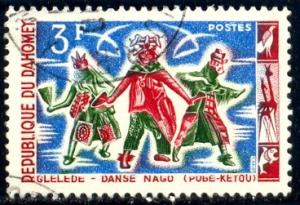 Nago Dance, Regional Dance, Dahomey stamp SC#186 Used