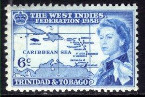 Trinidad & Tobago 1958 QE2 6ct Blue Inauguration Umm SG 282 ( J96 )