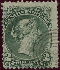 Canada - 2c Green Large Queen w Light Target Cancel #24