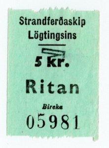 (I.B) Faroe Islands Cinderella : Ferry Parcel Service 5Kr (Ritan)