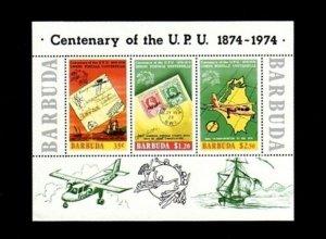 BARBUDA - 1974 - UPU - SHIP - AIRCRAFT - LETTER - PERF - MINT - MNH S/SHEET!