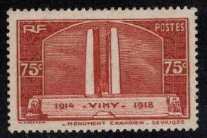 France Scott 311 MH* WW1 Canadian war memorial stamp perf tips toned at top