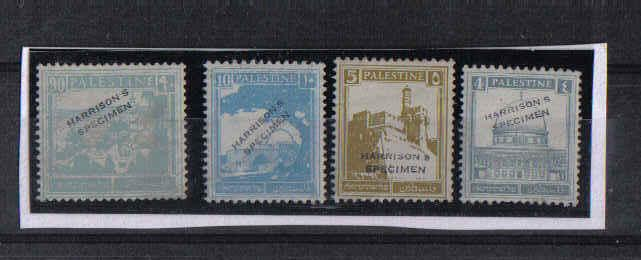 Israel Palestine Pictorials Harrison's Specimen Color Trials Overprint Set!!!!!