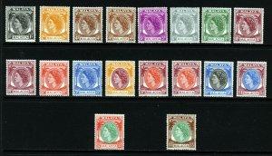 MALACCA MALAYSIA QE II 1954-57 The Complete Set + Shades SG 23 to SG 38 MINT