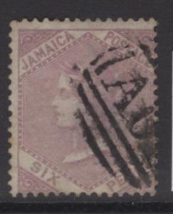 JAMAICA SG5a 1863 6d GREY-PURPLE USED