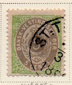 Danish West Indies Sc 8b 1876 5c  green & gray stamp used inverted frame