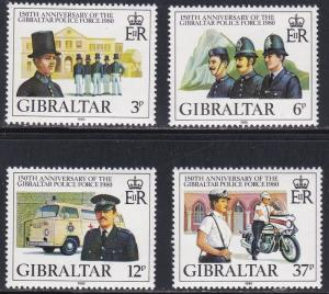 Gibraltar # 386-389, Police Force Anniversary,  NH, 1/2 Cat.