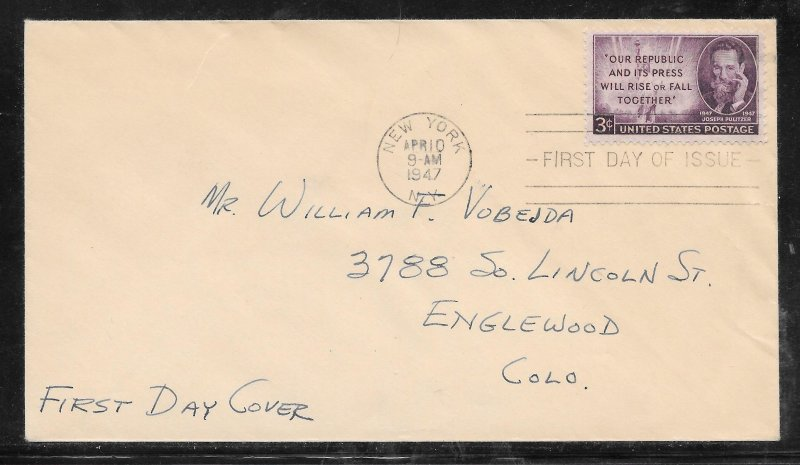 Just Fun Covers #946 FDC Cachet APR/10/1947 (my4243)