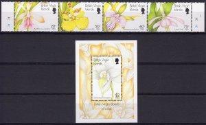 Virgin Islands 1997 Sc#874/875 ORCHIDS Strip of 4+1 Souvenir Sheet MNH