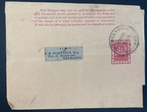 1890s Gergentown British Guiana Postal Stationery wrapper Cover To Barbados