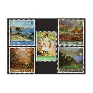 Guernsey 264-268,MNH.Michel 269-273. Renoir's Visit-100,1983.Paintings.