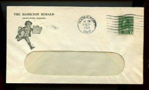Hamilton Herald 2c 1925 Admiral issue cover Canada