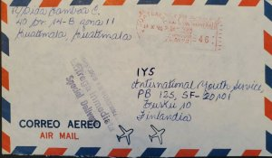 A) 1981, GUATEMALA, SPECIAL DELIVERY, POSTAL STATIONARY, SHIPPED TO FINLAND, AIR