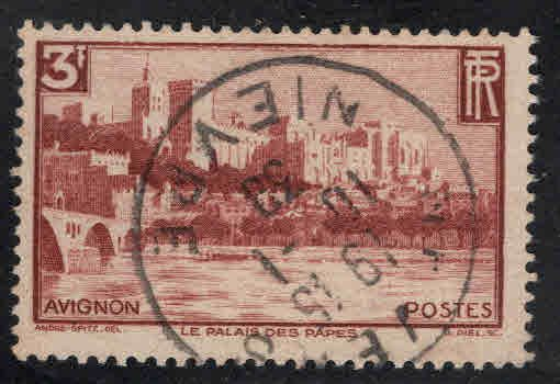 France Scott 344 Used Palace of Popes Avignon stamp 1938