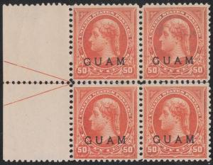 GUAM #11 BLOCK OF 4 PERF SEPARATION, TROPICAL GUM CV $1,600++ BR1369 HS100785