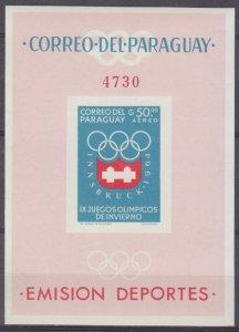 1963 Paraguay 1264/B49b 1964 Olympic Games in Innsbruck 26,00 €