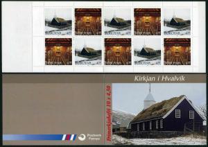Faroe 328-329a booklet,MNH.Michel 326-327 MH 14. Hvalvik church,1997.