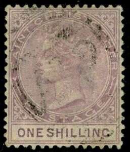 ST KITTS-NEVIS SG20, 1s mauve, USED. Cat £65.