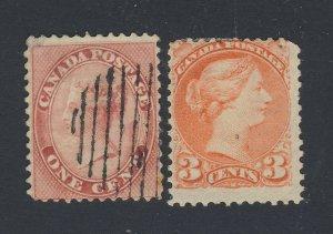 2x Canada Victoria Stamps #14-1c U Fine & # 41-3c MH Fine Guide Value = $70.00
