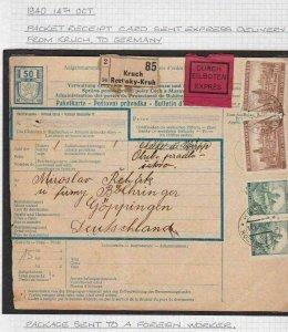 GERMAN OCCUPIED  1940 BOHMEN & MAHREN PARCEL POST  WITH STAMPS &  CANCELS  R3107